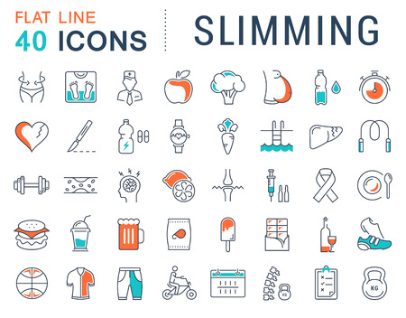 Set vector line icons in flat design Slimming, Healthy Food and Diet with elements for mobile concepts and web apps. Collection modern infographic logo and pictogram.