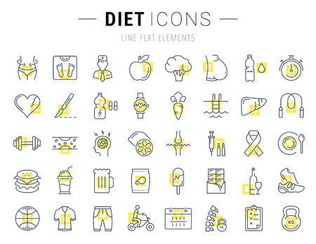 slimming: Set vector line icons in flat design Slimming, Healthy Food and Diet with elements for mobile concepts and web apps. Collection modern infographic logo and pictogram.