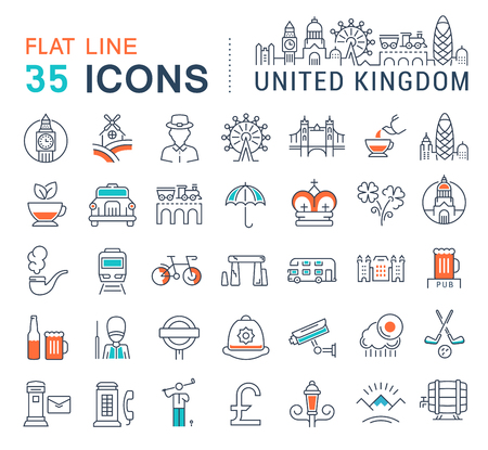 gherkin building: Set vector line icons in flat design United Kingdom, England, Ireland and Scotland with elements for mobile concepts and web apps. Collection modern infographic logo and pictogram.