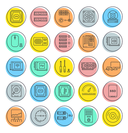 gpu: Set vector line icons with open path upgrading computer and hardware, overclocking, cooling, test cpu and gpu with elements for mobile concepts and web apps. Collection modern infographic logo Illustration