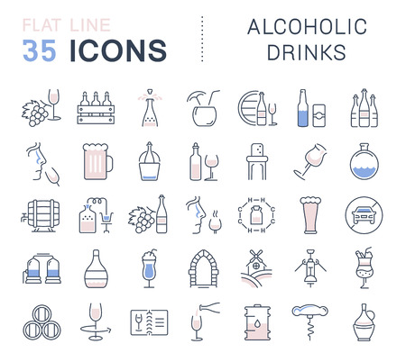 alcoholic drinks: Set vector line icons in flat design Alcoholic Drinks with elements for mobile concepts and web apps. Collection modern infographic and pictogram. Illustration