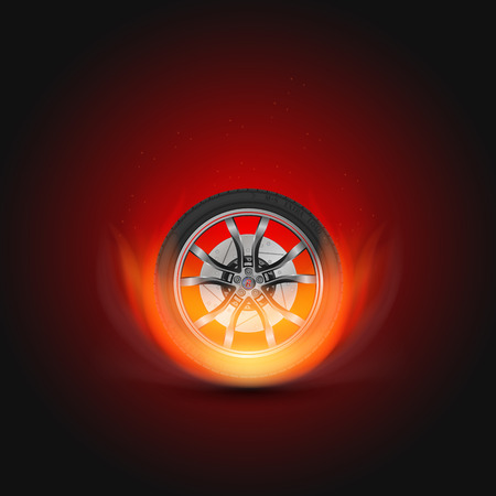 drift: Vector illustration car wheel with fire. Template for car service, drift club and garage. Illustration