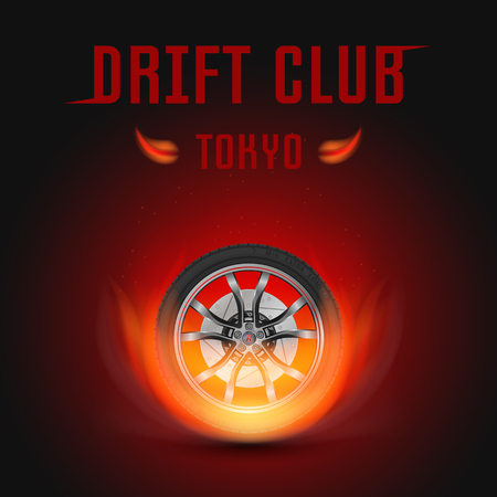 drift: Vector illustration car wheel with fire. Template for drift club Illustration