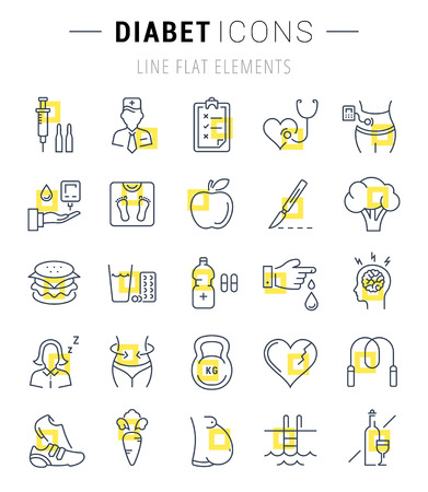 diabetes mellitus: Set vector line icons in flat design diabet and diabetes mellitus with elements for mobile concepts and web apps. Collection modern infographic and pictogram. Illustration