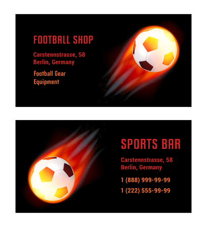 sports bar: Vector Card Football Ball with fire. Template for Football Shop and Sports Bar
