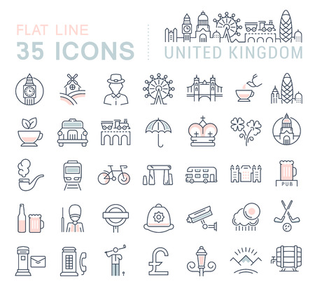gherkin building: Set vector line icons in flat design United Kingdom, England, Ireland and Scotland with elements for mobile concepts and web apps. Collection modern infographic and pictogram. Illustration