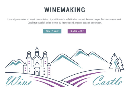 wine making: Flat line illustration of wine making, grape cultivation and Wine Castle. Concept for web banners and printed materials. Template with buttons for website banner and landing page.