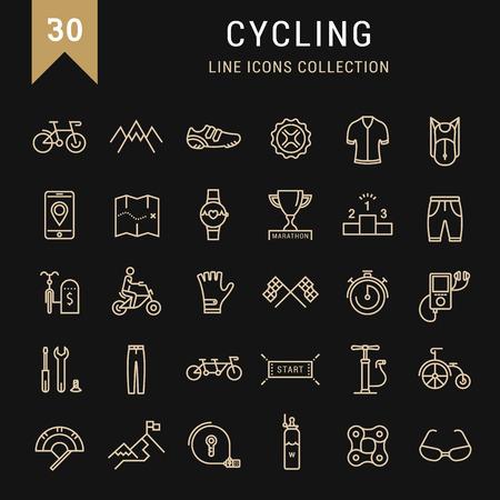 Stel vector lijn iconen met fietsen open pad, fiets-elementen en onderdelen, fiets sport met elementen voor mobiele concepten en web apps. Verzameling moderne infographic en pictogram.
