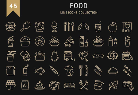 Set vector line icons meal and fast food in flat design with elements for mobile concepts and web. Collection modern infographic and pictogram. 向量圖像
