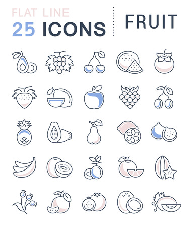 veg: Set vector line icons in flat design Fruit and vegetarian Food with elements for mobile concepts and web apps. Collection modern infographic  and pictogram.