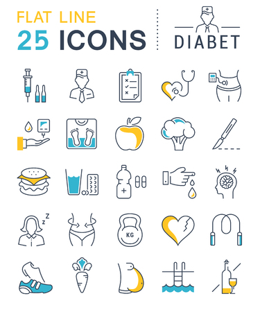 Set vector line icons in flat design diabet and diabetes mellitus with elements for mobile concepts and web apps. Collection modern infographic and pictogram. Vettoriali