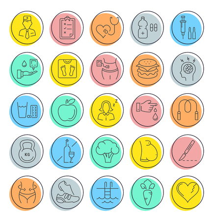 selfcontrol: Set vector line icons in flat design diabet and diabetes mellitus with elements for mobile concepts and web apps. Collection modern infographic and pictogram. Illustration
