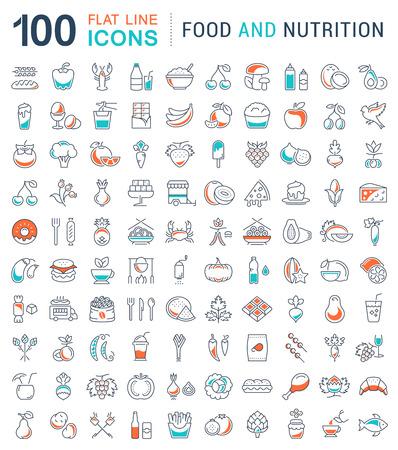 Grote reeks vector lijn iconen maaltijd, vis, fruit, groenten en fast food in flat design met elementen voor mobiele concepten en web. Verzameling moderne infographic en pictogram.