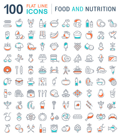 Big set vector line icons meal, seafood, fruit, vegetables and fast food in flat design with elements for mobile concepts and web. Collection modern infographic and pictogram. Illustration