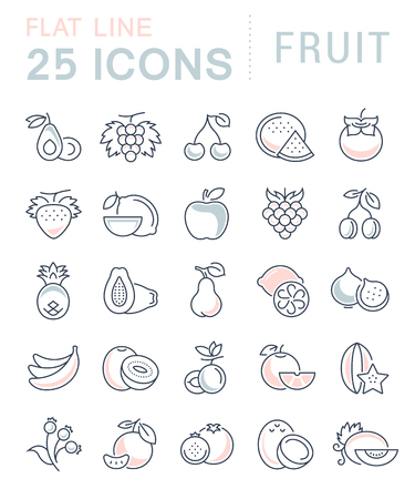 fruit and veg: Set vector line icons in flat design Fruit and vegetarian Food with elements for mobile concepts and web apps. Collection modern infographic and pictogram.