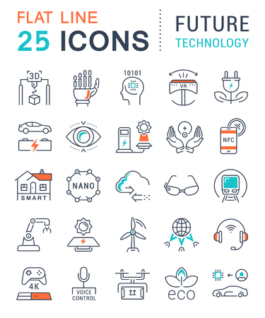 Set vector line icons in flat design future technology, eco energy, smart tech and electric transportation with elements for mobile concepts and web. Collection modern infographic and pictogram.