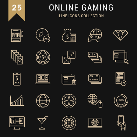 online roulette: Set vector line icons with open path online gaming, casino, slot machine and slots, mobile gaming with elements for mobile concepts and web apps. Collection modern infographic and pictogram
