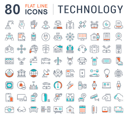 Set vector line icons in flat design technology, electric car, smart city, house , internet of things, online payment. Elements for mobile concepts. Collection modern infographic  and pictogram. Stok Fotoğraf - 64393236