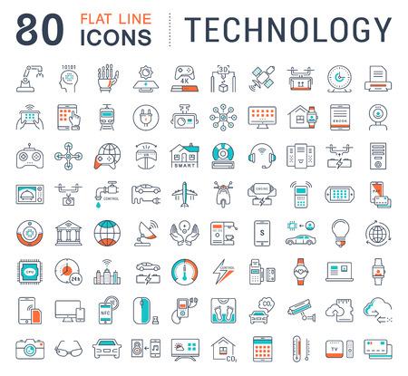 Zestaw ikon wektorowych w linii płaskiej technologii projektowania, samochód elektryczny, inteligentne miasto, dom, Internet przedmiotów, płatności online. Elementy koncepcji mobilnych. Kolekcja nowoczesnych infografika oraz piktogramów. Ilustracje wektorowe