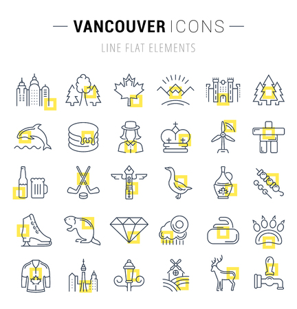 vancouver city: Set vector line icons in flat design Vancouver and Canada with elements for mobile concepts and web apps. Collection modern infographic logo and pictogram.