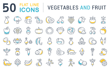 icons: Set vector line icons in flat design Vegetable, Fruit and Healthy food with elements for mobile concepts and web apps. Collection modern infographic  and pictogram.