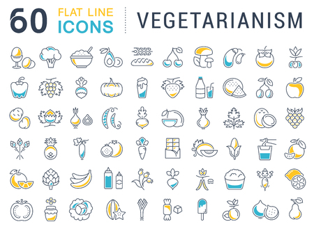 vegetarianism: Set vector line icons in flat design Vegetarianism and Vegan with elements for mobile concepts and web apps. Collection modern infographic and pictogram. Illustration