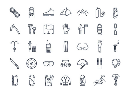 mountaineering: Set vector line icons with open path mountaineering and hiking with elements for mobile concepts and web apps. Collection modern infographic and pictogram.