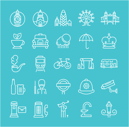 gherkin building: Set vector line icons in flat design London and England with elements for mobile concepts and web apps. Collection modern infographic and pictogram.