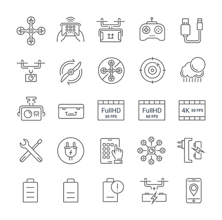 Set vector line icons with open path drones and flying gadgets with elements for mobile concepts and web apps. Collection modern infographic and pictogram