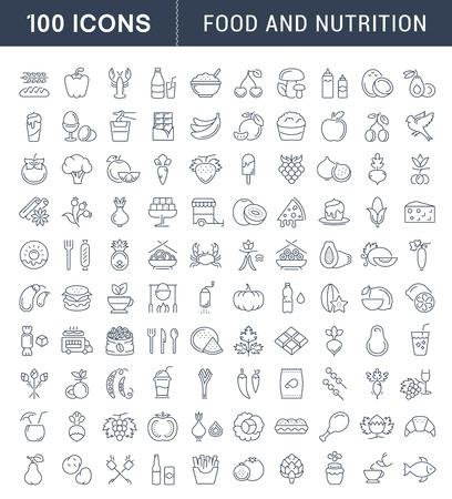 大きなセット ベクトル線アイコン食事、魚介類、果物、野菜、携帯電話の概念と web の要素を持つフラット デザインのファーストフード。コレクシ