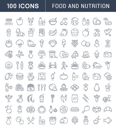 Big set vector line icons meal, seafood, fruit, vegetables and fast food in flat design with elements for mobile concepts and web. Collection modern infographic and pictogram. 矢量图像