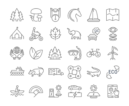 eco icons: Set vector line icons in flat design eco, ecotourism and recycle with elements for mobile concepts and web apps. Collection modern infographic  and pictogram.