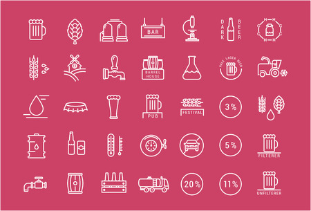 brewing house: Set vector line icons with open path beer, bottle, glass, mug and pub with elements for mobile concepts and web apps. Collection modern infographic and pictogram.