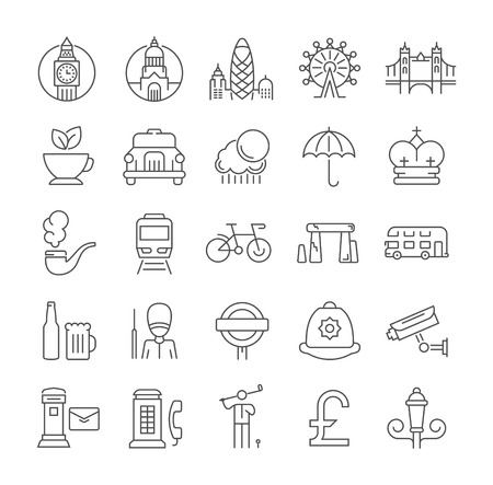 guard box: Set vector line icons in flat design London and England with elements for mobile concepts and web apps. Collection modern infographic  and pictogram.