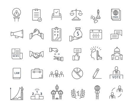 voted: Set vector line icons with open path voting and elections. Collection politics symbol with elements for mobile concepts and web apps. Collection modern infographic and pictogram. Illustration