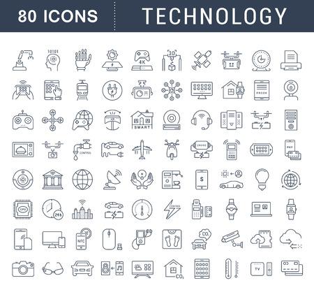 Fije los iconos del vector de línea en la tecnología de diseño plano, coche eléctrico, ciudad inteligente, casa, Internet de las cosas, el pago en línea. Elementos para conceptos móviles. Colección infografía moderna y pictograma.