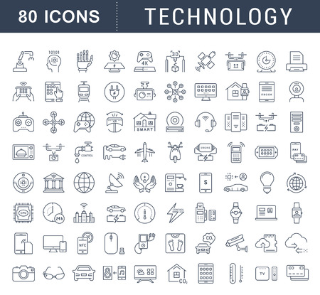 Set vector line icons in flat design technology, electric car, smart city, house , internet of things, online payment. Elements for mobile concepts. Collection modern infographic and pictogram. 免版税图像 - 64324741