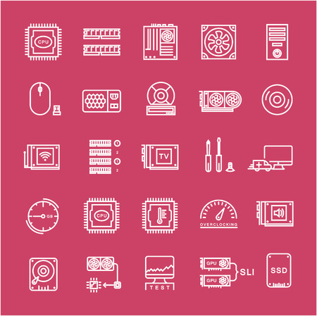 Set vector line icons with open path upgrading computer and hardware, overclocking, cooling, test cpu and gpu with elements for mobile concepts and web apps. Collection modern infographic Illustration