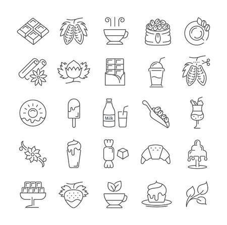 フラット デザインのチョコレート、デザート、カカオ、携帯電話の概念と web アプリの要素を持つお菓子でベクター線のアイコンを設定します。コ  イラスト・ベクター素材