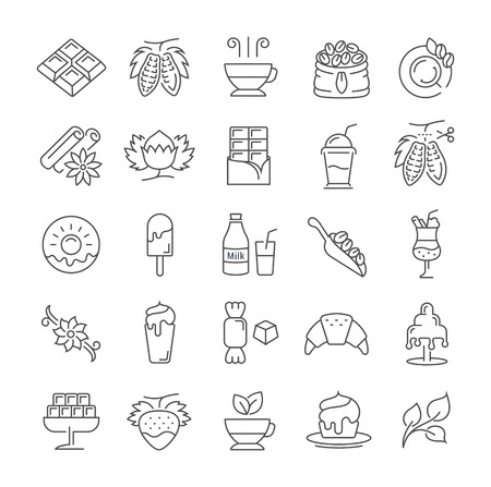 Set vector line icons in flat design chocolate, dessert, cacao and candy with elements for mobile concepts and web apps. Collection modern infographic and pictogram. 矢量图像