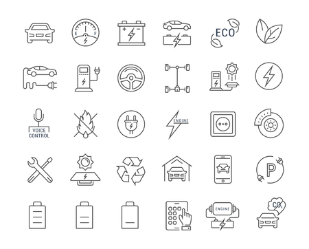 electric line: Set vector line icons with open path electric cars and eco transport with elements for mobile concepts and web apps. Collection modern infographic  and pictogram