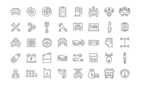 Set vector line icons with open path car service, auto repair and transport with elements for mobile concepts and web apps. Collection modern infographic and pictogram. 矢量图像
