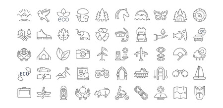 fishing village: Set vector line icons in flat design eco, ecotourism and recycle with elements for mobile concepts and web apps. Collection modern infographic logo and pictogram.
