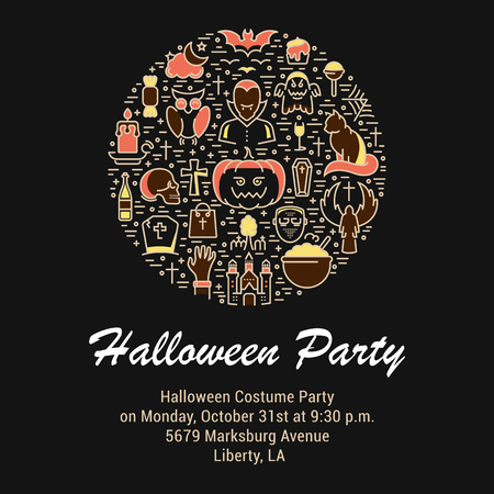 Halloween concept.Template invitation. Symbols isolated on background. Web banner Halloween party, vector label or emblem.