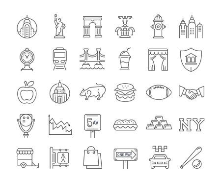 フラット デザイン ニューヨークとアメリカの携帯電話の概念と web アプリの要素を持つベクトル線のアイコンを設定します。コレクション モダンな  イラスト・ベクター素材