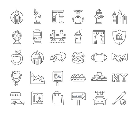 Set vector line icons in flat design New York and USA with elements for mobile concepts and web apps. Collection modern infographic and pictogram.