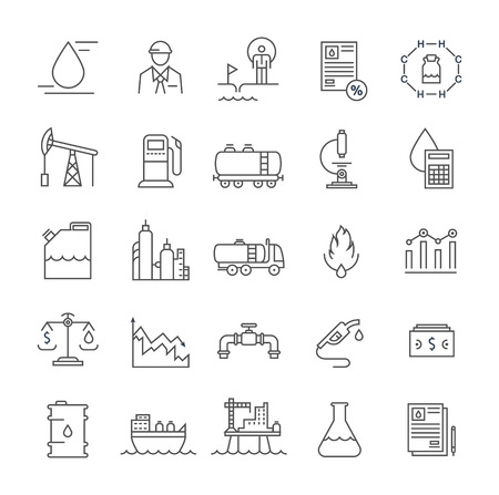 energy production: Set vector line icons with open path oil industry, power and energy production, mining minerals with elements for mobile concepts and web apps. Collection modern infographic and pictogram