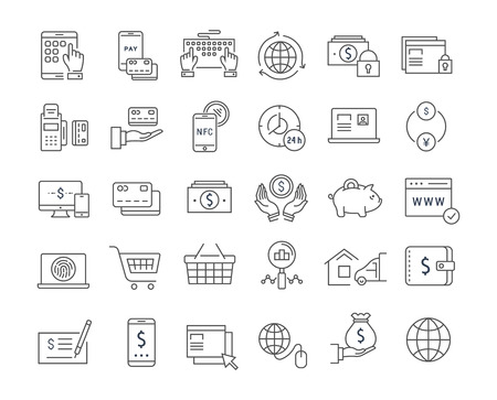 Set vector line icons in flat design online banking, payment and online shopping with elements for mobile concepts and web apps. Collection modern infographic and pictogram.