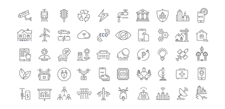Establecer iconos de línea de vector con sity camino abierto y tecnología con elementos para conceptos móviles y aplicaciones web. Colección moderna infografía y pictograma. Foto de archivo - 64314648