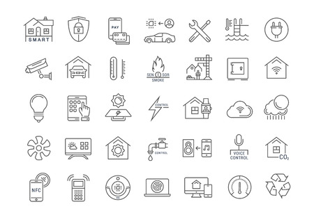 Set vector line icons with open path smart home, smart systems and technology with elements for mobile concepts and web apps. Collection modern infographic and pictogram. Vettoriali